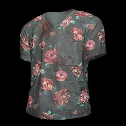 Flower Print Scrubs Shirt